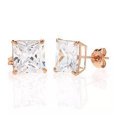 A&M 14K Rose Gold 6mm Square Cubic Zirconia Stud Earrings