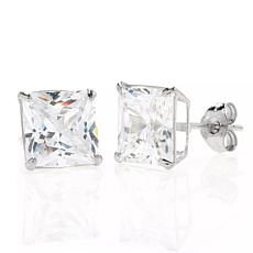 A&M 14K White Gold 6mm Square Cubic Zirconia Stud Earrings