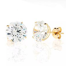 A&M 14K Yellow Gold 5mm Square Cubic Zirconia Stud Earrings