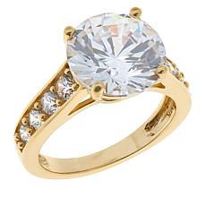 Absolute™ 10K Gold Cubic Zirconia Round with Pavé Sides Ring