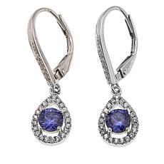 Absolute™ 1.25ctw CZ Tanzanite-Color Pear-Shaped Halo Earrings