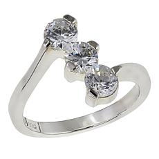 Absolute™ 1.50ctw CZ Sterling Silver Round Prong-Set Trio Ring