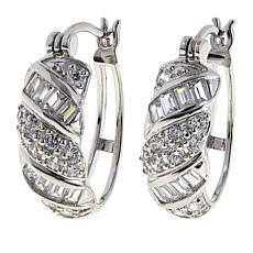 Absolute™ 1.59ctw CZ Sterling Silver Round and Baguette Hoop Earrings