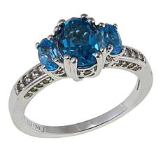 Absolute™ 1.97ctw CZ Sterling Silver Blue 3-Stone Pavé Ring