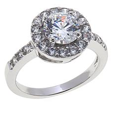 Absolute™ 2.02ctw Cubic Zirconia Round & Pavé Halo Ring