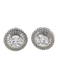 Absolute™ 2.23ctw CZ Sterling Silver Baguette Frame Stud Earrings