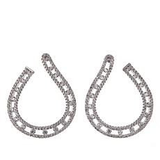 Absolute™ 2.32ctw CZ Sterling Silver Forward-Facing Hoop Earrings