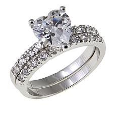 Absolute™ 2.36ctw CZ Heart and Pavé 2-piece Ring Set