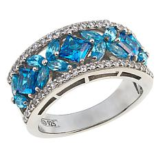 Absolute™ 2.37ctw CZ Apatite-, Tanzanite-Color and Clear Pavé Ring