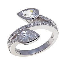 Absolute™ 2.52ctw CZ  Pear and Pavé Bypass Ring