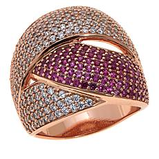Absolute™ 2.75ctw CZ and Simulated Ruby Woven Ring