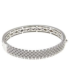 Absolute™ 2.94ctw CZ Sterling Silver Round Grid Bangle Bracelet