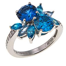 Absolute™ 3.21ctw Blue CZ and Created Gem Multi-Cut Ring