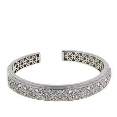Absolute™ 3.79ctw CZ Sterling Silver Round and Baguette Cuff Bracelet
