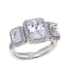 Absolute™ 5.17ctw Radiant-Cut CZ 3-Stone Halo Ring