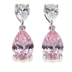 Absolute™ 5.50ctw CZ Pink and Clear Pear Drop Earrings