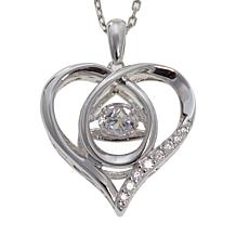 "Absolute™ .59ctw Dancing CZ Heart Pendant with 18"" Chain"