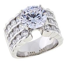 Absolute™ 6.40ctw CZ Sterling Silver Round Center 3-Row Ring