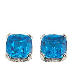 Absolute™ 6.68ctw CZ  Tanzanite-Color and Clear Cushion Stud Earrings