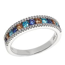 Absolute™ Clear and Gem-Color Cubic Zirconia Sterling Silver Band Ring