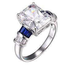 Absolute™  Clear Cubic Zirconia and Created Blue Sapphire Ring