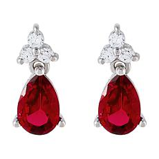 Absolute™ Cubic Zirconia and Created Gem Pear Drop Earrings