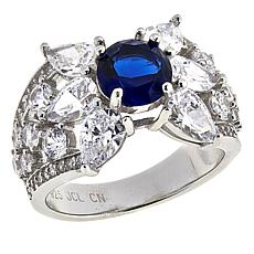 Absolute™ Cubic Zirconia and Simulated Blue Sapphire Floral Ring