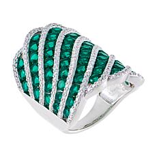 Absolute™ Cubic Zirconia and Simulated Emerald Pavé Shield Ring