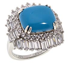 Absolute™ Cubic Zirconia and Simulated Turquoise Sterling Silver Ring