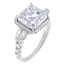 Absolute™ Cubic Zirconia Asscher and Baguette 3-Stone Engagement Ring