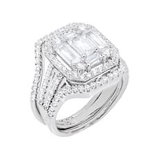 Absolute™ Cubic Zirconia Baguette and Pavé 2-piece Ring Set