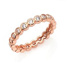 Absolute™ Cubic Zirconia Rose Gold-Plated Round Eternity Ring