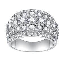 Absolute™ Cubic Zirconia Round Graduated 3-Row Dome Ring