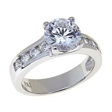 Absolute™ Cubic Zirconia  Round Solitaire and Channel-Set Band Ring