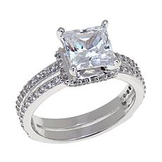 Absolute™ Cubic Zirconia Sterling Silver Princess-Cut Split Shank Ring