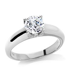 Absolute™ Cubic Zirconia Sterling Silver Round Solitaire Pavé Ring