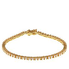 Absolute™ CZ Gold-Plated Sterling Silver 2mm Princess Line Bracelet