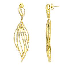 Absolute™ Gold-Plated Sterling Silver Openwork Leaf Style  Earrings