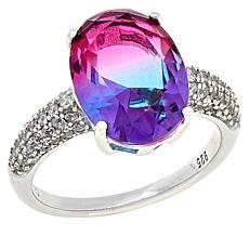 Absolute™ Light Blue-Pink Stone and Cubic Zirconia Ring