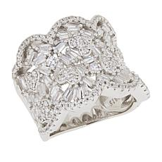 Absolute™ Sterling Silver Baguette and Round Pavé Heart Scalloped Ring
