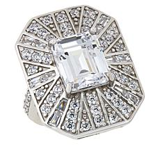 Absolute™ Sterling Silver Baguette, Round and Emerald-Cut Deco Ring