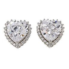 Absolute™ Sterling Silver Cubic Zirconia 8mm Heart Halo Stud Earrings