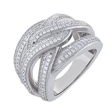 Absolute™ Sterling Silver Cubic Zirconia Braided Openwork Band Ring