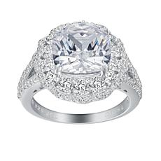 Absolute™ Sterling Silver Cubic Zirconia Cushion Halo Cocktail Ring