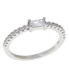 Absolute™ Sterling Silver Cubic Zirconia Rectangular Pavé Band Ring