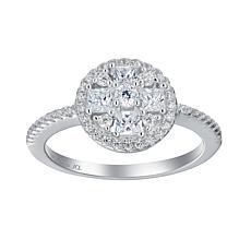 Absolute™ Sterling Silver Cubic Zirconia Round Halo Cluster Ring