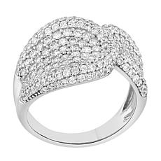Absolute™ Sterling Silver Cubic Zirconia Saddle Ring