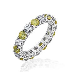 Absolute™ Sterling Silver Cubic Zirconia Yellow and Clear Stack Ring