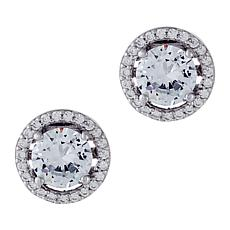 Absolute™  Sterling Silver CZ and Simulated Gemstone Halo Stud Earr...