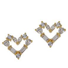 Absolute™ Sterling Silver Mixed Cut Open Heart Stud Earrings